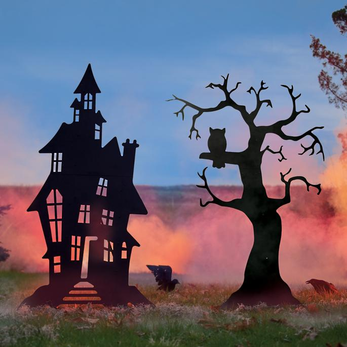 Halloween Spooky House.Halloween Haunted House And Spooky Tree Silhouettes