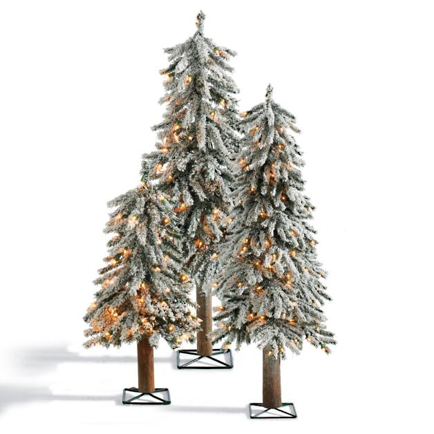 Set of Three Pre-lit Table Top Alpine Trees - Pre-lit Alpine Christmas Trees Grandin Road